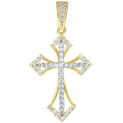14k Two Tone Gold CZ Open Back Religious Cross Pendant