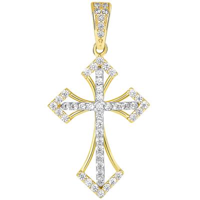 14k Two Tone Gold CZ Open Back Religious Cross Pendant