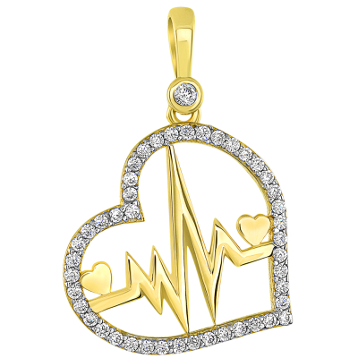 14k Yellow Gold CZ-Studded Elegant Open Heart with Heartbeat Pendant