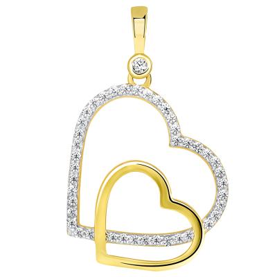 14k Gold Cubic Zirconia Double Heart Charm Pendant