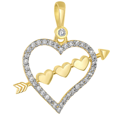 14k Yellow Gold CZ-Studded Open Heart with Love Arrow Pendant