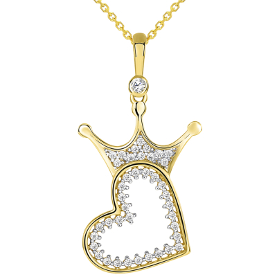 14k Yellow Gold CZ Crowned Open Sideways Heart Pendant Necklace
