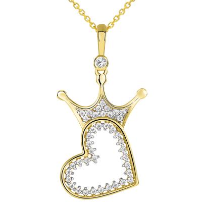 14k Yellow Gold CZ Crowned Open Sideways Heart Pendant Necklace