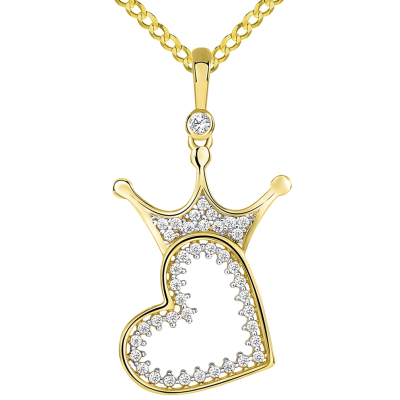 14k Yellow Gold CZ Crowned Open Sideways Heart Pendant Cuban Necklace