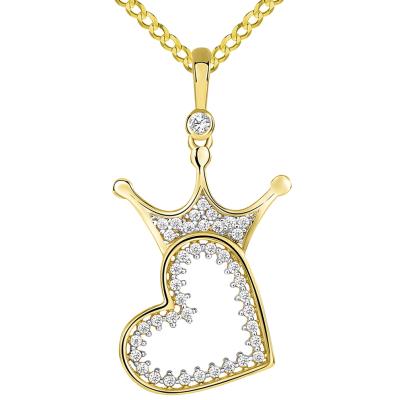 14k Yellow Gold CZ Crowned Open Sideways Heart Pendant Cuban Necklace