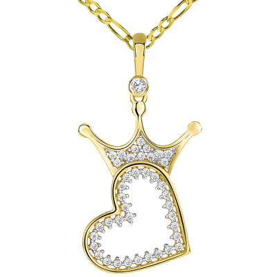 14k Yellow Gold CZ Crowned Open Sideways Heart Pendant Figaro Necklace