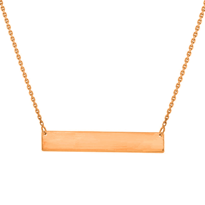 Solid 14k Rose Gold Engravable Bar Pendant Necklace with Lobster Claw Clasp