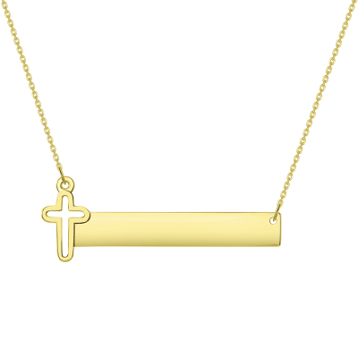"Solid 14k Yellow Gold Engravable Personalized Bar with Religious Cross Necklace (Adjustable Chain 16"" to 18"")"