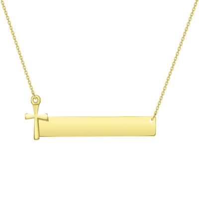 Solid 14k Yellow Gold Engravable Personalized Bar with Religious Cross Necklace