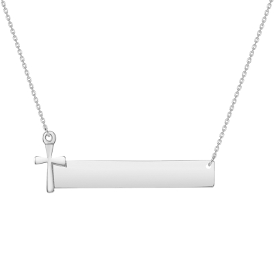 Solid 14k White Gold Engravable Personalized Bar with Religious Cross Necklace