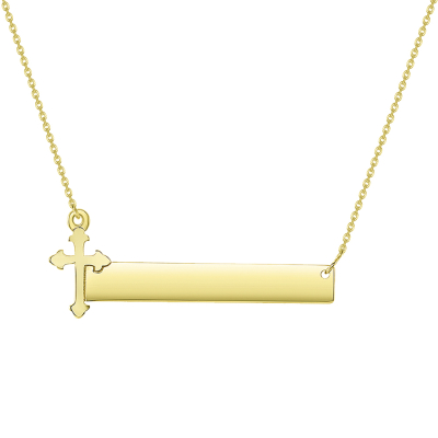 Solid 14k Yellow Gold Engravable Personalized Bar with Catholic Cross Necklace