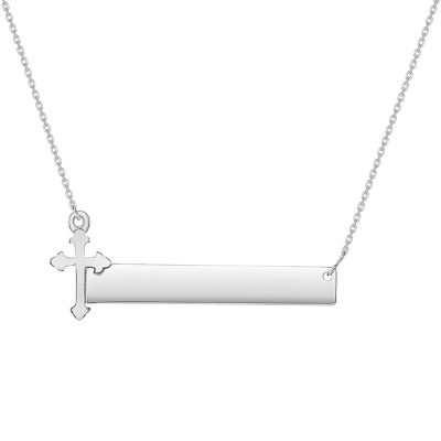 Solid 14k White Gold Engravable Personalized Bar with Catholic Cross Necklace