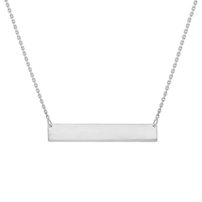 Solid 14k White Gold Engravable Personalized Bar Necklace with Spring Ring Clasp