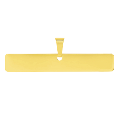 Solid 14k Yellow Gold Engravable Personalized Horizontal Bar Charm Pendant