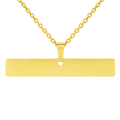 Solid 14k Yellow Gold Engravable Personalized Horizontal Bar Charm Pendant with Cable Rolo Chain