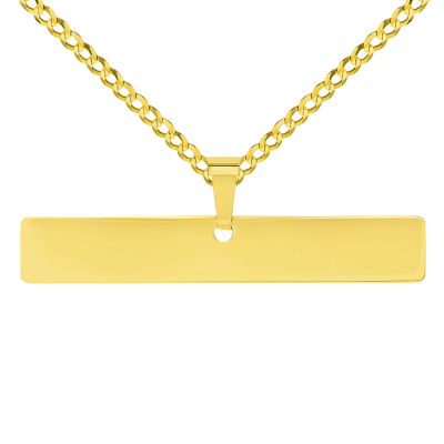 Solid 14k Yellow Gold Engravable Personalized Horizontal Bar Charm Pendant with Curb Cuban Chain Necklace