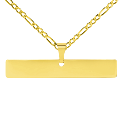 Solid 14k Yellow Gold Engravable Personalized Horizontal Bar Charm Pendant with Figaro Chain Necklace