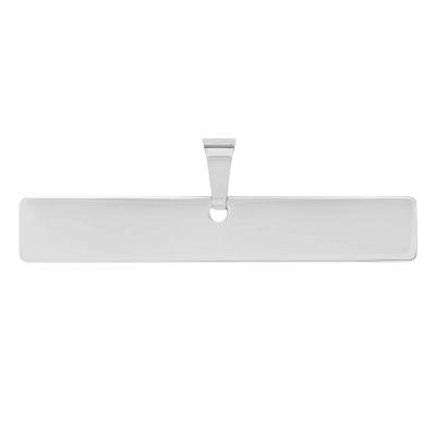 Solid 14k White Gold Engravable Personalized Horizontal Bar Charm Pendant