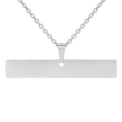 Solid 14k White Gold Engravable Personalized Horizontal Bar Charm Pendant Necklace