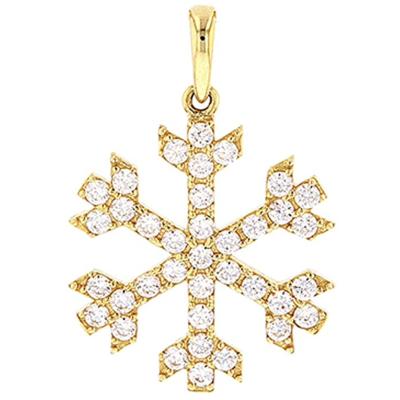 High Polish 14k Gold Cubic Zirconia Winter Snowflake Charm Pendant