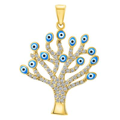 14k Yellow Gold Cubic-Zirconia Blue Evil Eye Tree of Life Pendant