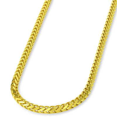 14k Solid Yellow Gold High Polished 4.5mm Franco Chain Square Link Necklace with Lobster Clasp