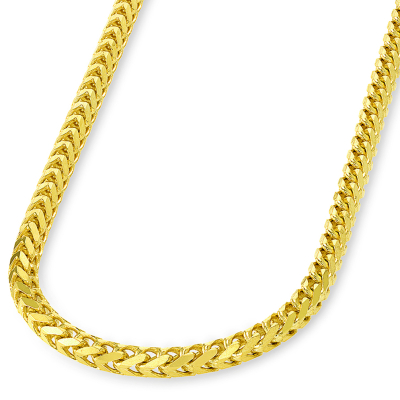 14k Solid Yellow Gold High Polished 6mm Franco Chain Square Link Necklace with Lobster Clasp