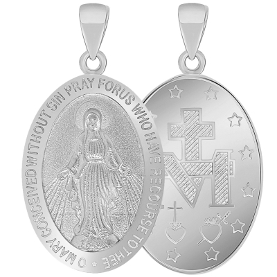 Solid 14k White Gold Classic Miraculous Medallion of the Virgin Mary Pendant (Small)