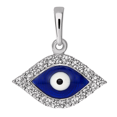 Solid 14k White Gold Blue Evil Eye Charm Pendant with Cubic Zirconia