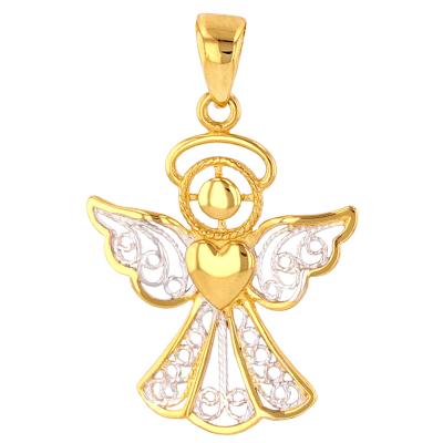Polished 14K Gold Filigree Angel with Heart Charm Pendant