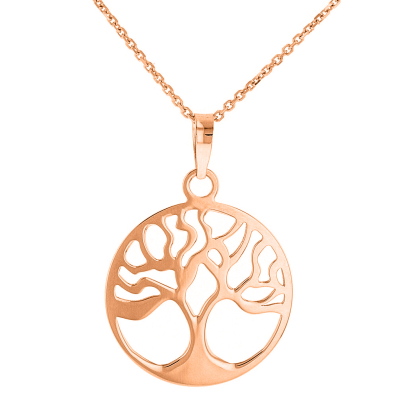 Solid 14k Rose Gold Tree of Life Disk Chain Pendant Necklace