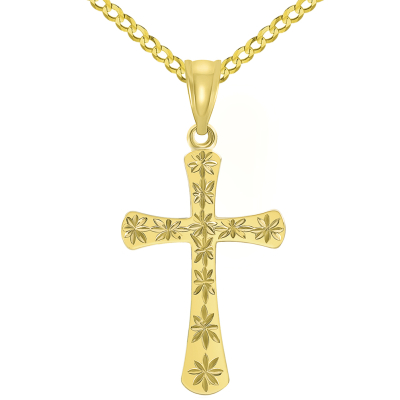 High Polished 14K Yellow Gold Textured Star Cut Religious Cross Pendant Cuban Curb Chain Necklace