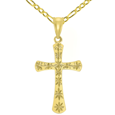 High Polished 14K Yellow Gold Textured Star Cut Religious Cross Pendant with Figaro Chain Necklace