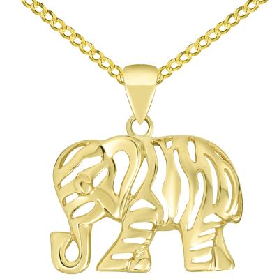 Polished 14K Yellow Gold Elegant Elephant Charm Animal Pendant with Cuban Chain Necklace