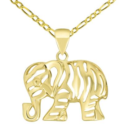 Polished 14K Yellow Gold Elegant Elephant Charm Animal Pendant with Figaro Chain Necklace