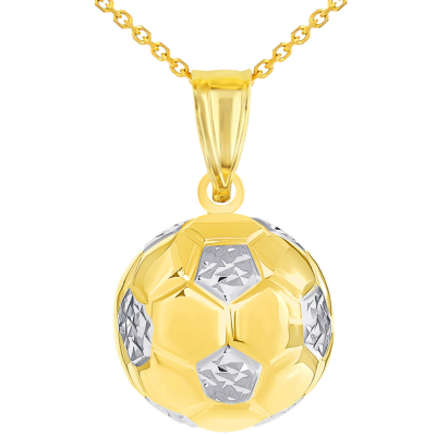 High Polish 14K Yellow Gold Soccer 3D Ball Charm Futbol Sports Pendant with Rolo Cable Chain Necklace