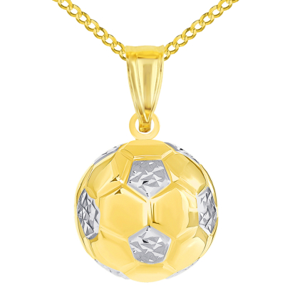 High Polish 14K Yellow Gold Soccer 3D Ball Charm Futbol Sports Pendant with Cuban Curb Chain Necklaces