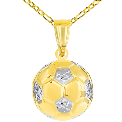 High Polish 14K Yellow Gold Soccer 3D Ball Charm Futbol Sports Pendant with Figaro Chain Necklace