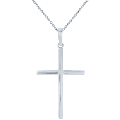 High Polished 14K White Gold Plain Slender Cross Pendant with Chain Necklace