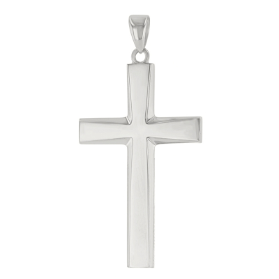 14K White Gold Plain and Simple Religious Cross Pendant
