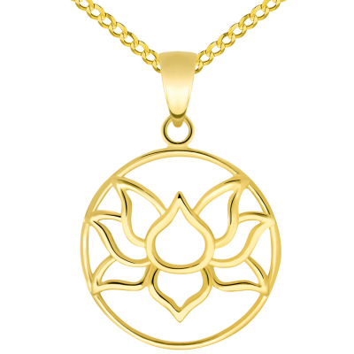 14k Yellow Gold Open Round Lotus Charm Padma Flower Pendant Cuban Curb Chain Necklaces