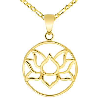 14k Yellow Gold Open Round Lotus Charm Padma Flower Pendant with Figaro Chain Necklace