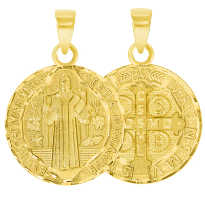 Solid 14k Yellow Gold Round Shaped St. Benedict Medallion Charm Pendant (Reversible)
