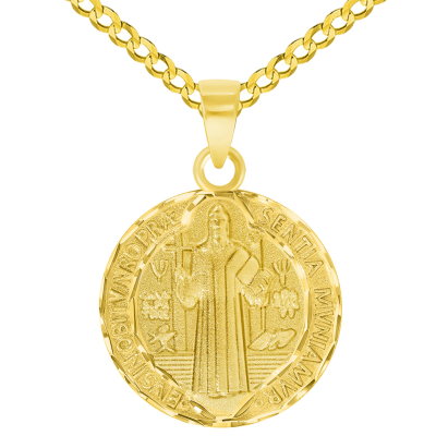 Solid 14k Yellow Gold Round Shaped St. Benedict Medallion Charm Pendant with Cuban Curb Chain Necklace