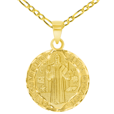 Solid 14k Yellow Gold Round Shaped St. Benedict Medallion Charm Pendant with Figaro Curb Chain Necklace