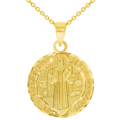 Solid 14k Yellow Gold Round Shaped St. Benedict Medallion Charm Pendant with Cable Chain Necklace