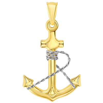 14k Two-Tone Gold 3D Anchor with Rope Pendant