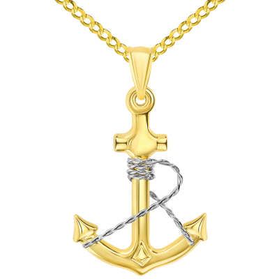 14k Two-Tone Gold Polished 3D Anchor with Rope Pendant with Cuban Curb Chain Necklace