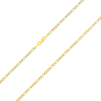 Solid 14k Yellow Gold 2mm Figaro Link Two-Tone Pave Chain Necklace with Lobster Clasp (Diamond-Cut)