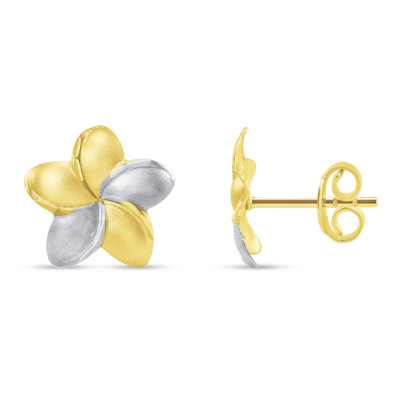14k Yellow Gold Hawaiian Flower Plumeria Stud Two-Tone Earrings with Screw Back, 10.5mm x 10.5mm